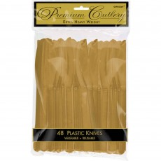 Gold Premium Heavy Weight Plastic Knives Pack of 48