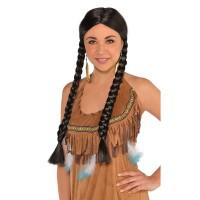 Cowboy & Western Costume Accessories Black Braided Wig