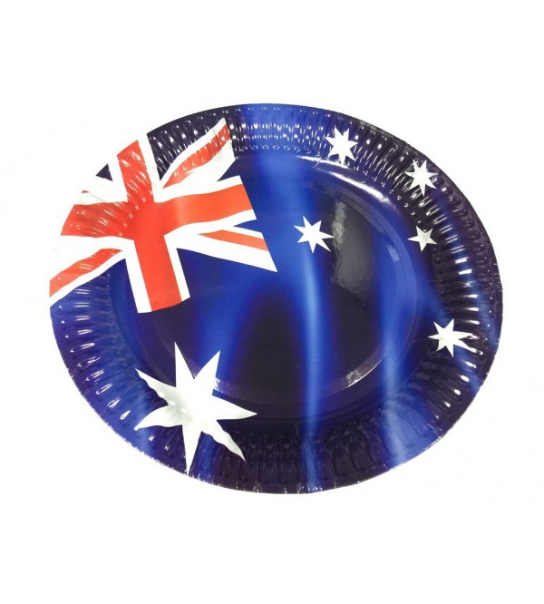 Round Australia Day Dinner Plates 23cm Pack of 8