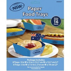 State of Origin Trays Pack of 16 NSW Hot Dogs & Pie Holders