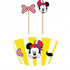 Disney Mickey Carnival Wooden Picks & Cupcake Cases Pack of 48