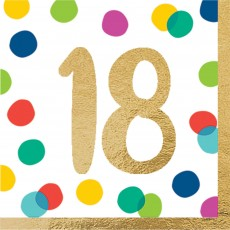 18th Birthday Party Supplies - Lunch Napkins Happy Dots