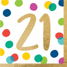 21st Birthday Party Supplies - Lunch Napkins Happy Dots