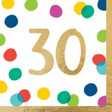 30th Birthday Party Supplies - Lunch Napkins Happy Dots