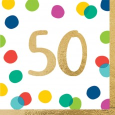 50th Birthday Party Supplies - Lunch Napkins Happy Dots