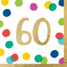 60th Birthday Party Supplies - Lunch Napkins Happy Dots