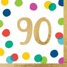 90th Birthday Party Supplies - Lunch Napkins Happy Dots