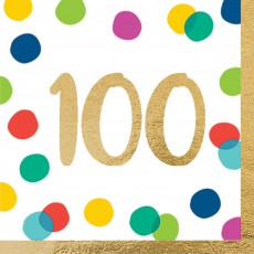 100th Birthday Party Supplies - Lunch Napkins Happy Dots