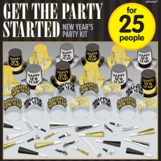 Black, Silver & Gold New Year Get the Party Started Party Box For 25 Guests