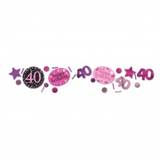 40th Birthday Pink Celebration Confetti 34g Single Pack