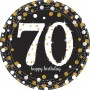 Round 70th Birthday Sparkling Celebration Prismatic Dinner Plates 23cm Pack of 8