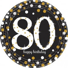 Round 80th Birthday Sparkling Celebration Prismatic Dinner Plates 23cm Pack of 8