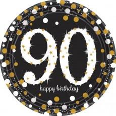 Round 90th Birthday Sparkling Celebration Prismatic Dinner Plates 23cm Pack of 8