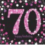 70th Birthday Pink Celebration Lunch Napkins 33cm x 33cm Pack of 16
