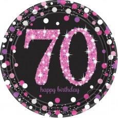 Round 70th Birthday Pink Celebration Prismatic Dinner Plates 23cm Pack of 8