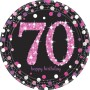 Round 70th Birthday Pink Celebration Prismatic Dinner Plates 23cm Pack of 8