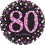 Round 80th Birthday Pink Celebration Prismatic Dinner Plates 23cm Pack of 8