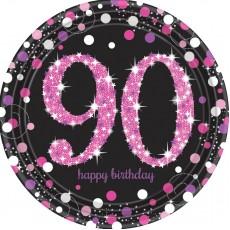 Round 90th Birthday Pink Celebration Dinner Plates 23cm Pack of 8