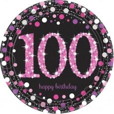Round 100th Birthday Pink Celebration Dinner Plates 23cm Pack of 8