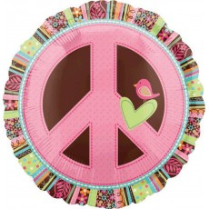 Round Hippie Chick Standard XL Peace Sign Foil Balloon 45cm
