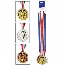 Gold, Silver & Bronze Sports Medal Awards Pack of 3