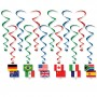 International Party Decorations - Hanging Decorations Flags Whirls