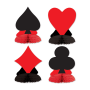 Casino Night Card Suits Mini Honeycomb Centrepieces 11cm Pack of 4