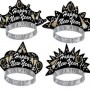 Black, Gold & Silver Times Square Happy New Year Tiara One Size Fits Most