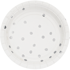 White & Silver Touch of Colour Dots Lunch Plates Pack of 8