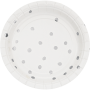 Round White & Silver Foil Dots Touch of Colour Lunch Plates 18cm Pack of 8