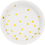 Round White & Gold Foil Dots Touch of Colour Lunch Plates 18cm Pack of 8