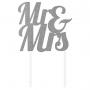 Glittered Silver Wedding Mr & Mrs Cake Topper 24cm x 18cm