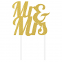 Glittered Gold Wedding Mr & Mrs Cake Topper 24cm x 18cm