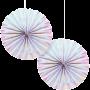 Iridescent Foil Paper Fans Hanging Decorations 30cm Pack of 2