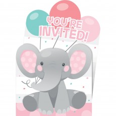 Girl Enchanting Elephant Pop-Up Invitations 15cm x 10cm Pack of 8