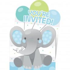 Boy Enchanting Elephant Pop-Up Invitations 15cm x 10cm Pack of 8