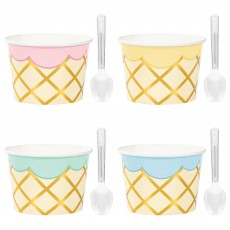Ice Cream Plastic Spoons & Paper Cups Pack of 8