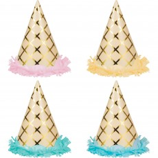 Ice Cream Fringed Foil Party Hats Child Size Pack of 8