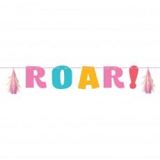Dinosaur Girl Dino Decor Letter ROAR! Banner 20cm x 1.37m