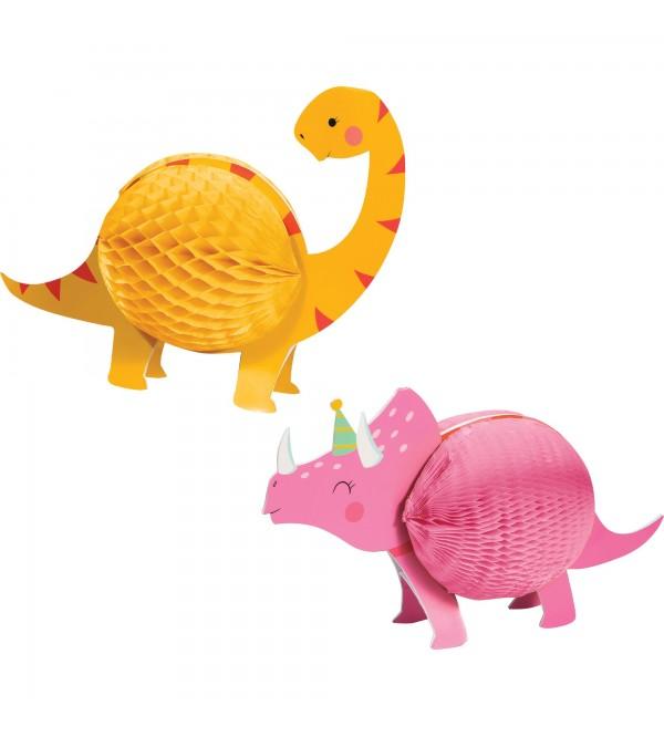 Dinosaur Girl Dino Decor Honeycomb Centrepieces Pack of 2
