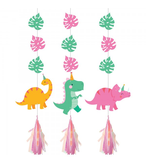 Dinosaur Girl Dino Decor Iridescent Cutouts Hanging Decorations 91cm Pack of 3