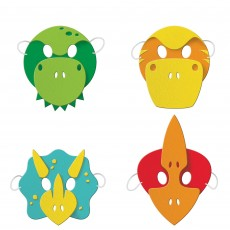 Dinosaur Boy Dino Decor Party Masks Child Size Pack of 4