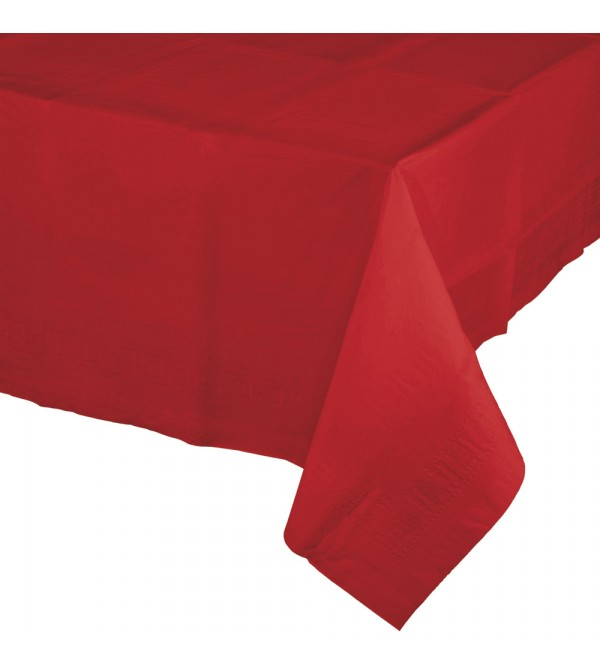 Classic Red Tissue & Plastic Back Table Cover 137cm x 274cm