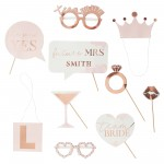 Rose Gold Hens Night Photo Props Pack of 10