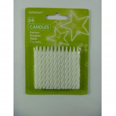 White Stripe Candles Pack of 24