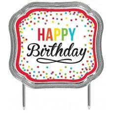 Primary Plastic Happy Birthday to You! Cake Topper 11.4cm x 12.7cm