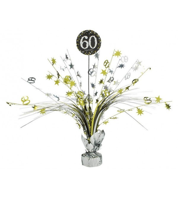 60th Birthday Centrepieces 45cm Black, Gold & Silver