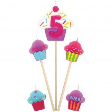Shaped Number 5 & Cupcakes Mini Candles Pack of 5