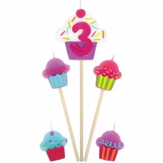 Shaped Number 3 & Cupcakes Mini Candles Pack of 5