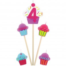 Shaped Number 4 & Cupcakes Mini Candles Pack of 5